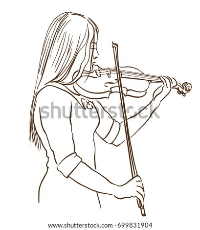 Young Woman Playing Violin Line Sketch Stock Vector