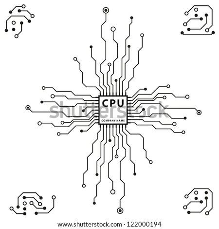 Abstract 2 D Circuit Board Cpu Design Stock Vector