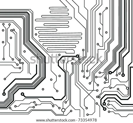 Circuit Board Pattern Blackandwhite Vector Illustration