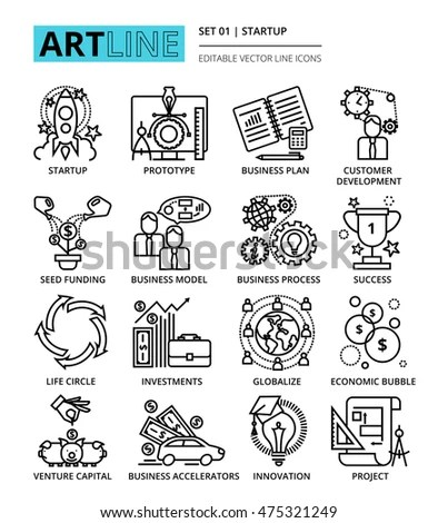 Business People Management Icons Line Style Stock Vector