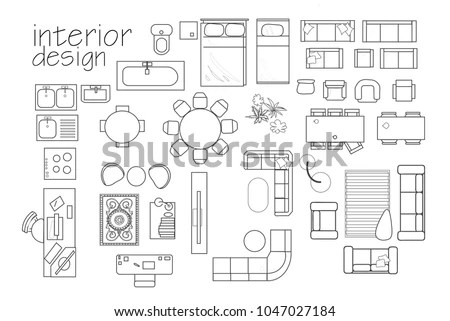 Interior Design Floor Plan Symbols Top 库存矢量图 1047027184