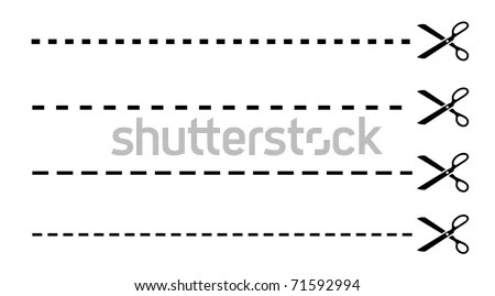 Dashed Cut Lines Scissors Stock Illustration 71592994