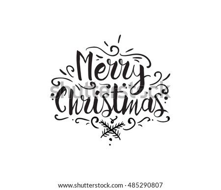 Merry Christmas Text Design Logo Typography Stock