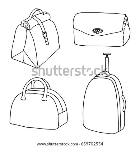Handbags Travel Bags Ladies Bags Set Stock Vector
