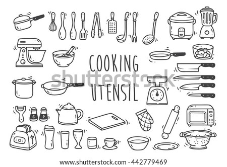 Cooking Kitchen Icon Collection Vector Outline Stock