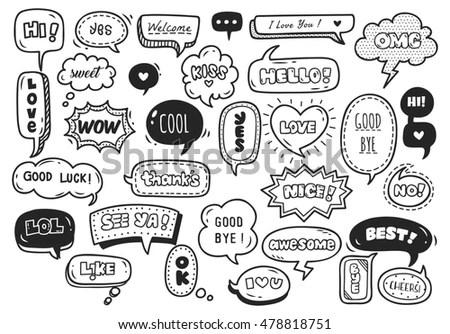 Set Cute Speech Bubble Text Doodle Stock Vector 459066802