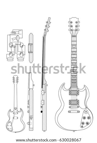CIRCA 2016 Drawing Gibson SG Electric Stock Vector