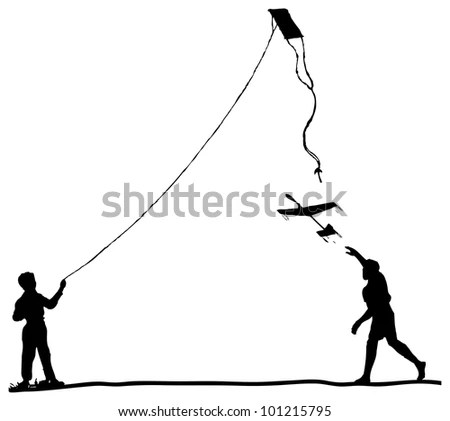 Sketch Person On Swing Looking Sunset Stock Vector