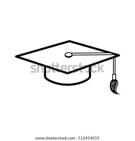 Graduation Cap Diploma Black Web Icon Stock Vector