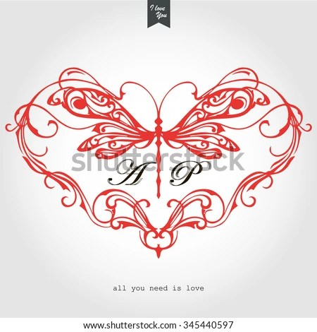 Download Vintage Frame Heart Dragonfly Place Your Stock Vector ...