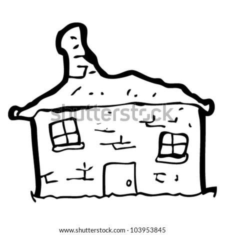 Crumbling Old House Cartoon Stock Illustration 112149419