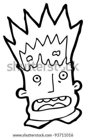 Exploding Head Cartoon Raster Version Stock Illustration