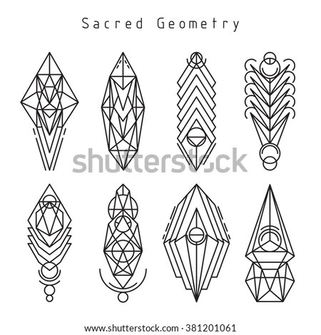 Vector Linear Sacred Geometry Emblem Set Stock Vector