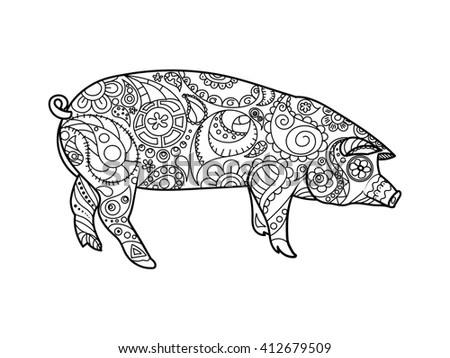 Black Silhouette Pig Pristine White Patterns Stock Vector