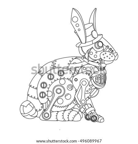 Steampunk Style Rabbit Mechanical Animal Coloring Stock