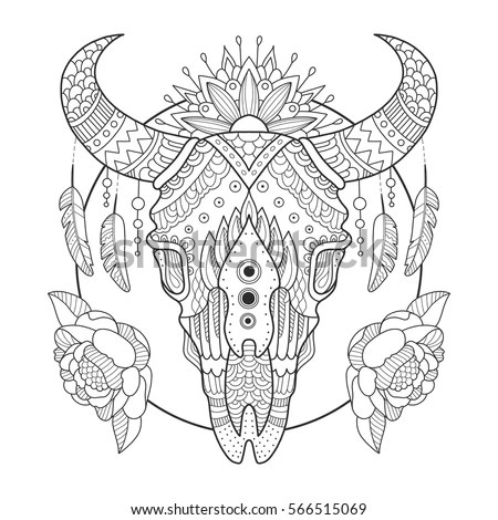 Cow Skull Coloring Book Vector Illustration Stock Vector