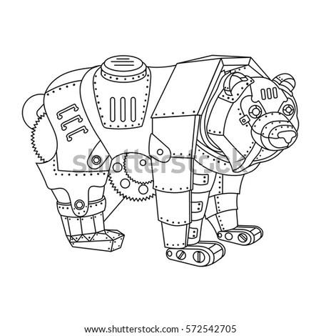 Technical Drawing Blue Print Illustration Robot Stock