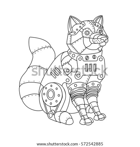 Steampunk Style Fox Mechanical Animal Coloring Stock