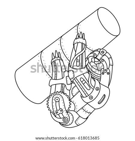 Cartoon Spaceship Rocket Exhaust Pushing Through Stock
