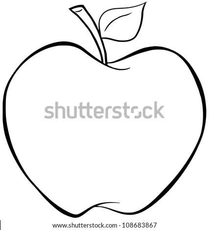 Outlined Cartoon Apple Vector Illustration Stock Vector