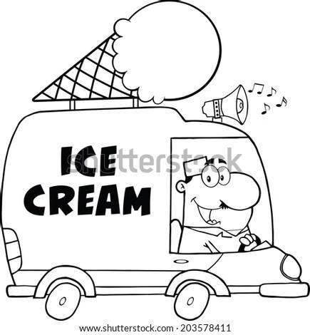 Black And White Happy Ice Cream Man Driving Truck. Raster