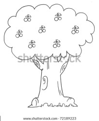 tree outline cherry coloring books stack carrying shutterstock vector smart boy happy cartoon sun
