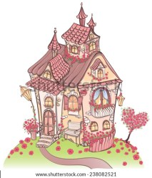 fairy cartoon tale cottages flowers drawn cartoons vector fantasy amazing hand architecture illustration cottage illustrations shutterstock thatched