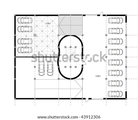 CAD Architectural Plan Drawing Underground Car Stock
