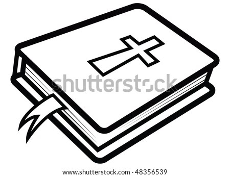 Cartoon Vector Outline Illustration Bible Stock Vector