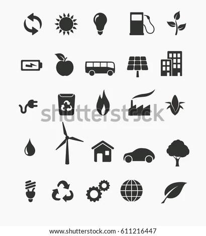 Vector Illustration Renewable Energy Icon Set Stock Vector