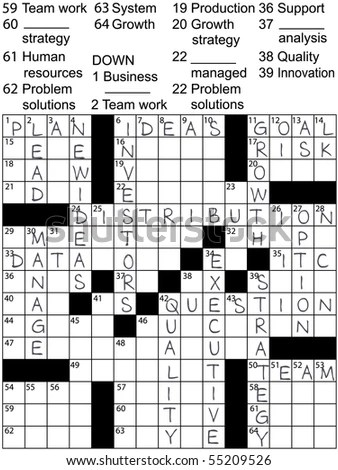 Crossword Puzzle Business Plan Words Clues Stock Vector