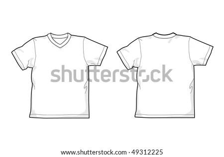 White Tshirt Back Front Vneck Stock Vector 49312225