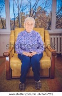 Grandma Sitting Yellow Chair Stock Photo 378685969 ...
