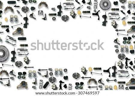 Spare Parts Car On White Background Stock Photo 307469597