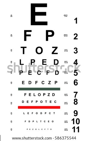 Chart Test Table Letters Eye Examination Stock Vector