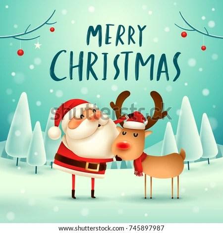 Immagine vettoriale stock a tema Merry Christmas Santa Claus Reindeer Christmas 745897987
