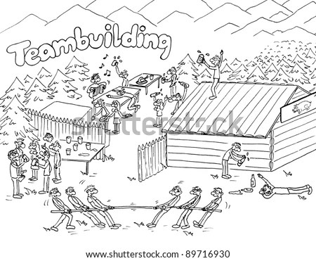Cartoon Funny Teambuilding Outdoor Scene Stock