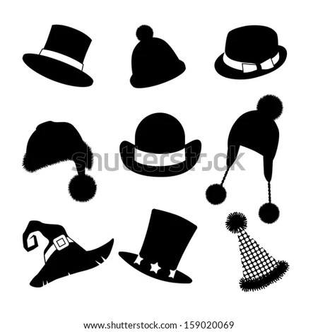 Hats Caps Silhouette Collection Stock Vector 122984794