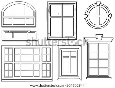 Set Different Windows Vector Illustration Stock Vector