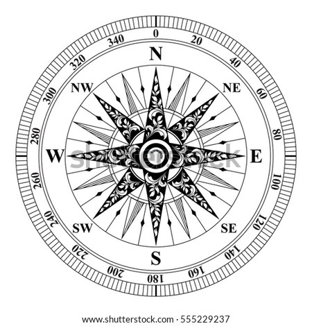 Old Vintage Compass Vector Rose Wind Stock Vector