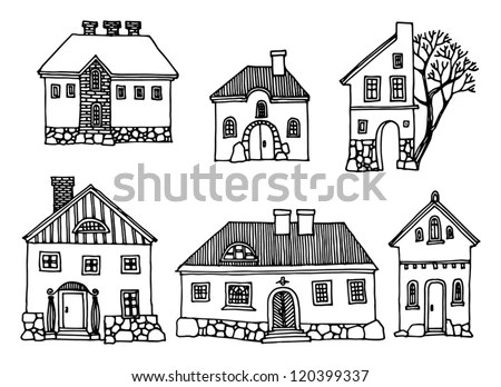 Cartoon Hand Drawing Houses Stock Vector 120399337