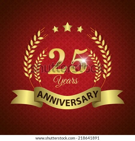 Celebrating 25 Years Anniversary  Golden Laurel Wreath
