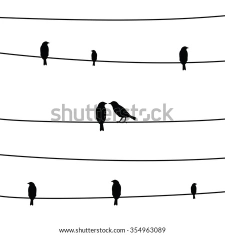 Silhouette Of Birds On A Wire Stock Images, Royalty-Free