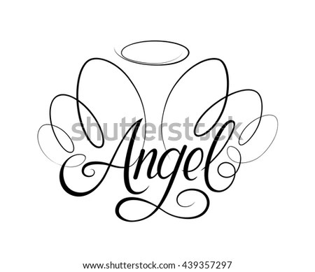 Vector Drawing Word Angel Two Wings Stock Vector 439357297