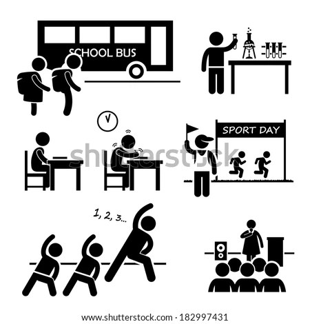 Student Teacher Headmaster School Children Stick Stock