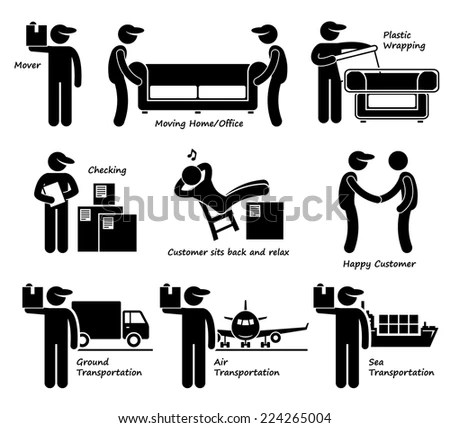 Mover Services Moving House Office Goods Stock Vector