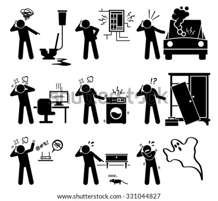Man Calling Complaining Phone Household Problems Stock