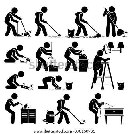 Cleaner Cleaning Washing House Pictogram Stock Vector