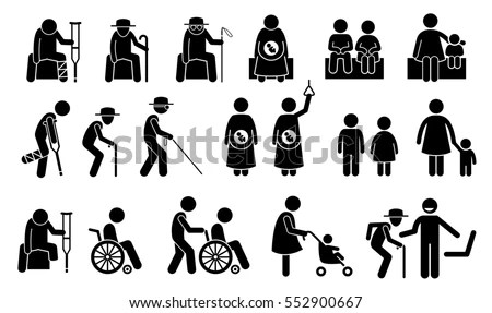 Priority Seats Old Man Senior Citizen Stock Illustration