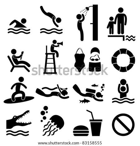 Man People Swimming Pool Sea Beach Stock Illustration